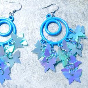 Blue Iridescent Chandelier Butterfly Earrings gift